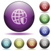 Set of color Internet security glass sphere buttons with shadows.