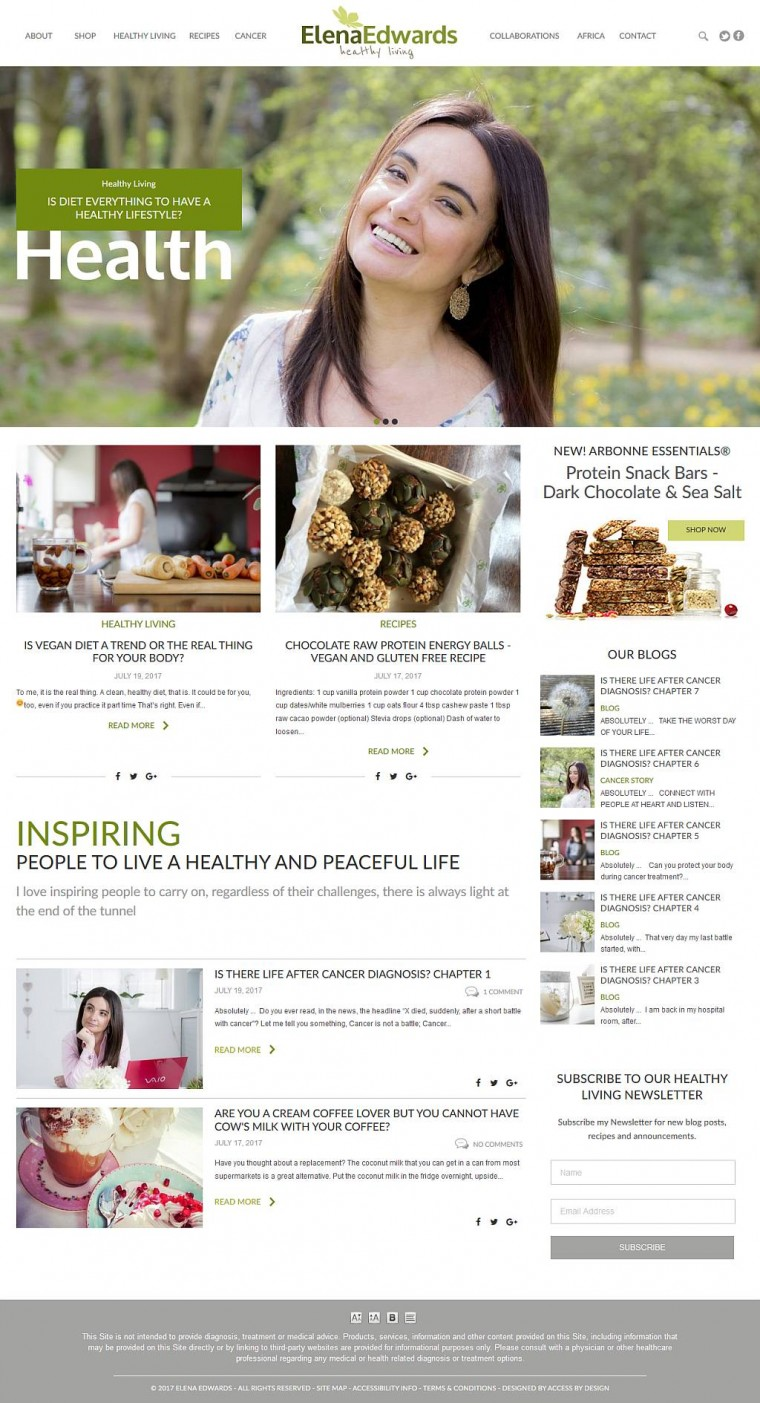 A beautiful bespoke website for Elena Edwards!
