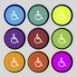 Blue badge disability symbols in different colour circles Access by Design 01243 776399